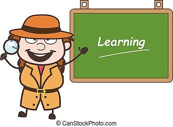 détective, projection, illustration, vecteur, planche, apprentissage, dessin animé