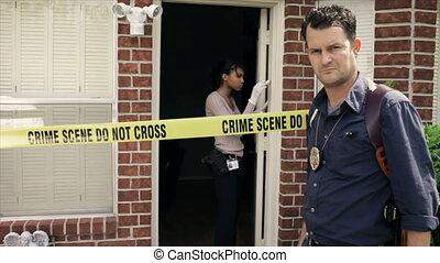 détective, regarder, scène, crime