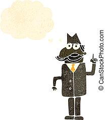 détective, retro, privé, dessin animé