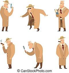 détective, rigolote, recherche, ensemble, policier, vecteur, caractères, ou, criminal.