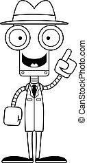 détective, robot, idée, dessin animé
