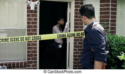 détective, scène, crime