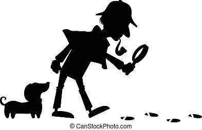 détective, silhouette
