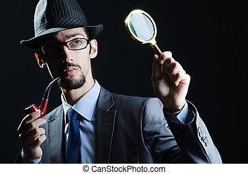 détective, tuyau, loupe