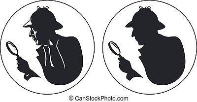 détective, vecteur, silhouette