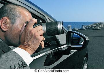 détective, voiture, intérieur, paparazzi, ou, photos,...