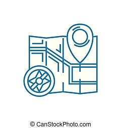déterminer, les, emplacement, linéaire, icône, concept., déterminer, les, emplacement, ligne, vecteur, signe, symbole, illustration.