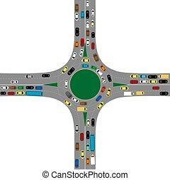 détourné, jonction route, beaucoup, voitures