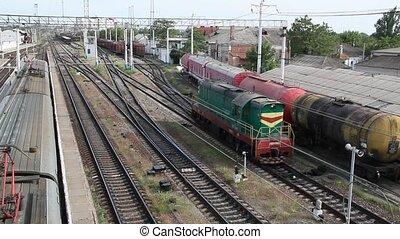 détourner, chemin fer, locomotive