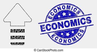 détresse, économie, mise jour, vecteur, flèche, cachet, pixel, icône