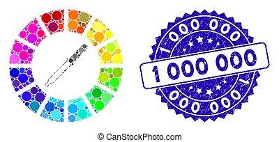 détresse, 1, icône, timbre, 000, couleur, mosaïque, roue