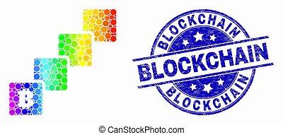 détresse, blockchain, spectre, bitcoin, vecteur, pixelated, cachet, icône