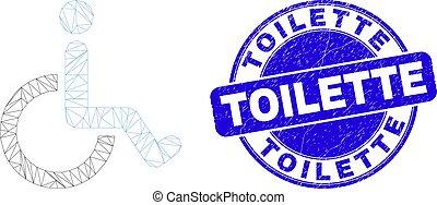 détresse, cachet, maille, fauteuil roulant, bleu, toile, toilette