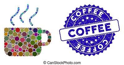 détresse, café, icône, collage, cachet