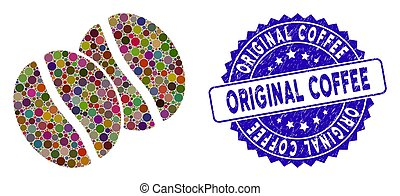 détresse, café, icône, original, timbre, collage, haricots
