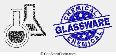détresse, chimique, vecteur, pixelated, cachet, verrerie, icône