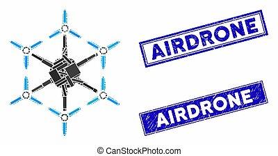 détresse, hexacopter, timbre, cachets, rectangle, mosaïque
