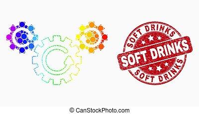 détresse, icône, timbre, clair, vecteur, rotation, boissons, doux, point, engrenage