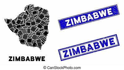 détresse, mosaïque, cachets, rectangle, zimbabwe, carte, timbre