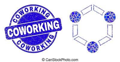 détresse, mosaïque, coopération, coworking, timbre, bleu