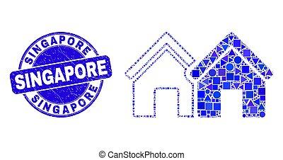 détresse, mosaïque, singapour, timbre, bleu, maisons