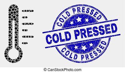 détresse, pointillé, timbre, thermomètre, vecteur, pressé, cachet, froid, icône