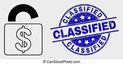 détresse, serrure, classifié, vecteur, cachet, contour, banque, icône
