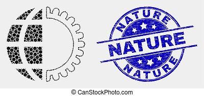 détresse, service, nature, timbre, global, vecteur, point, icône