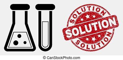 détresse, solution, chimique, vecteur, cachet, verrerie, icône, linéaire