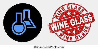 détresse, timbre, chimique, verre, vecteur, verrerie, icône, vin