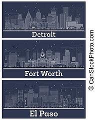détroit, valeur, ensemble, texas, bâtiments., blanc, michigan, contour, horizons, ville, paso, fort, el