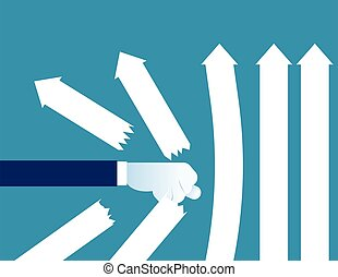 détruire, concept, arrows., illustration., poing, business, vecteur