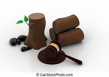 détruire, droit & loi, arbre, contre