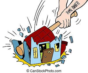 détruire, maison, propriétaire