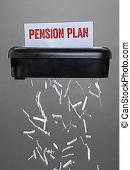détruire, -, pension, plan, document, déchiqueteuse