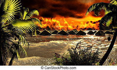 détruire, tsunami, pavillons