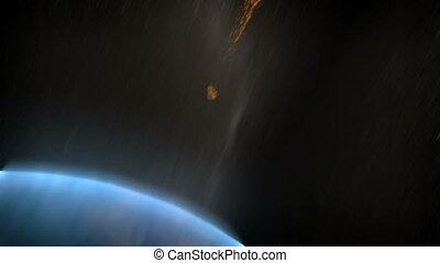 détruit, astéroïde, earth., apocalypse.