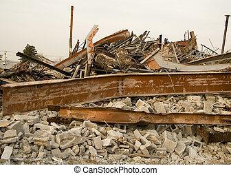 détruit, bâtiment, décombres