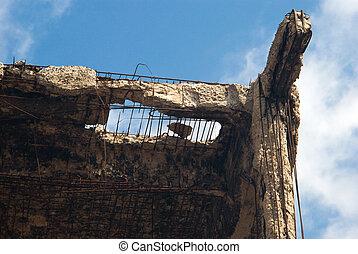 détruit, bâtiment, debris.