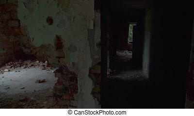 détruit, bâtiment, vue, abandonnés, point