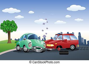 détruit, fracas, voiture, frapper, rouge vert