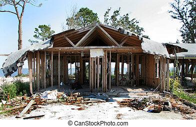 détruit, maison, ouragan