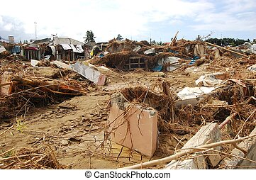 détruit, maison, typhon, inondation