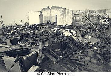 détruit, maisons, désastre