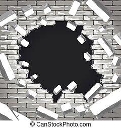 détruit, mur, brique
