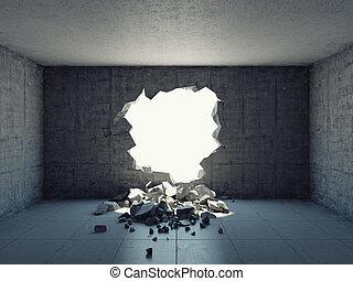 détruit, mur