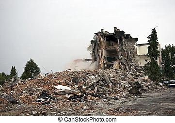 détruit, série, bâtiment, debris.