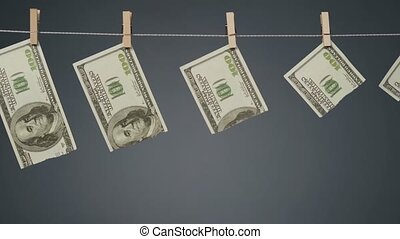dévaluation, clothesline, corde, dollar, tir