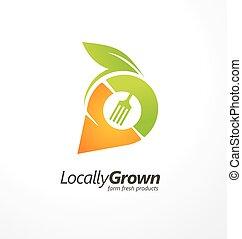 développé, ferme, locally, logo, conception, frais, produits