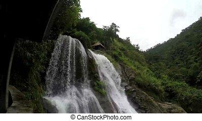 développé, montagne, naturel, rocheux, arbres., jumeau,...